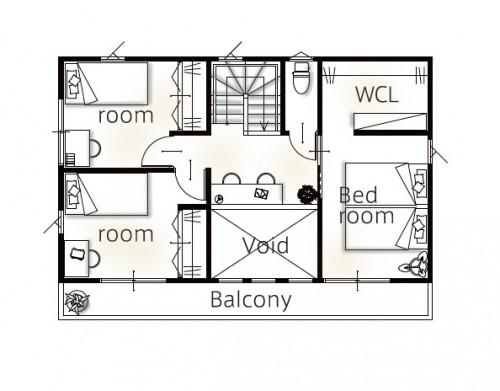 複数の部屋から出られるバルコニー