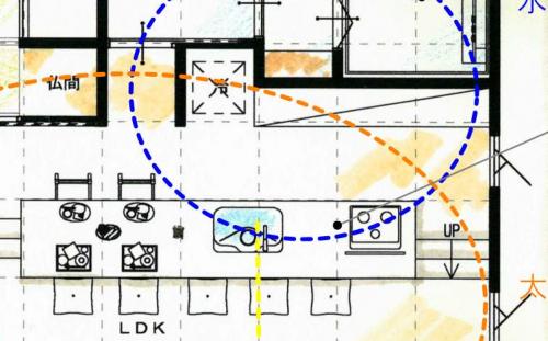 キッチンと冷蔵庫の図面