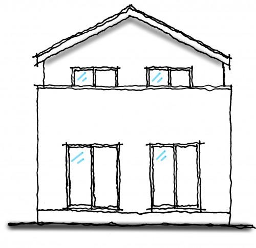 かっこ悪い切妻屋根の家