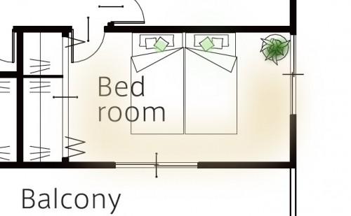 細長い寝室