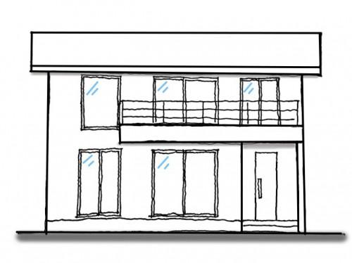 家の外観(窓を揃えた家)