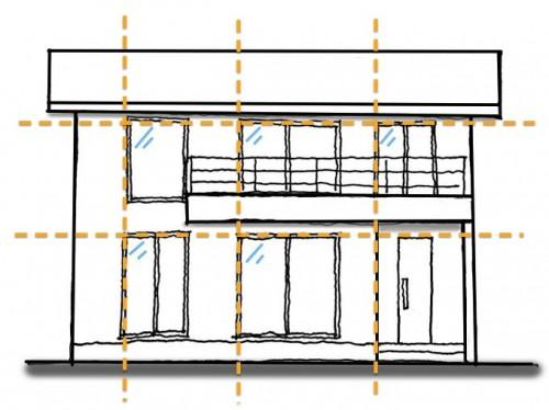 家の外観(窓の揃え方)