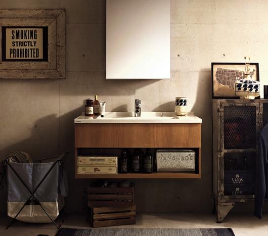 造作洗面と既製品のハイブリッド洗面台