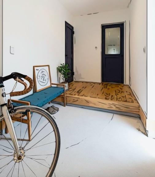シューズクロークと自転車