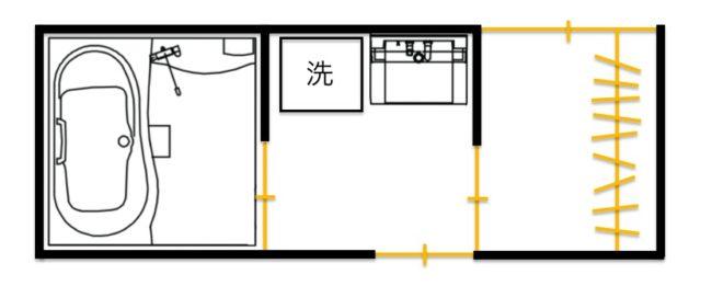 室内干しスペースがある水回りの間取り