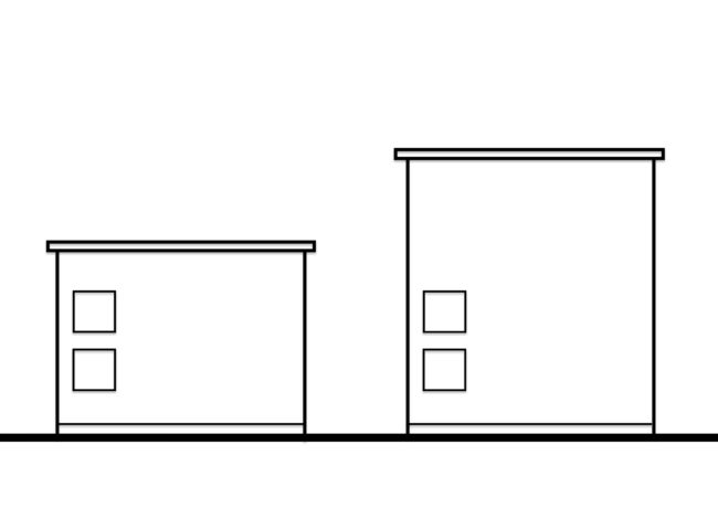 片流れ屋根の側面2