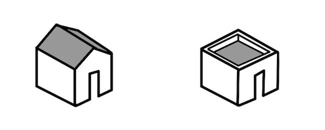 普通の家と四角い家