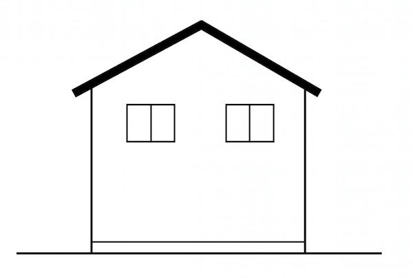 切妻屋根の家の窓の配置