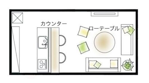 広さ16畳のLDKと家具レイアウト
